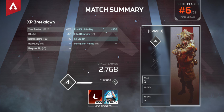 Apex Legends result screen