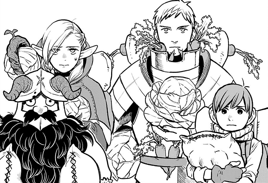 The cast of Dungeon Meshi from Chapter 9.