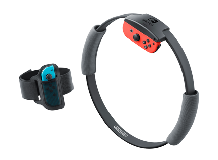 The Nintendo Ring-Con and strap for Ring Fit Adventure