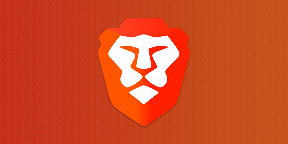 Brave Browser's logo on a orange-red gradient.