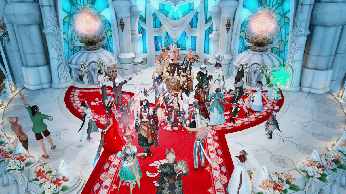 A screencap of a bunch <em>FFXIV</em> characters at an in-game wedding.