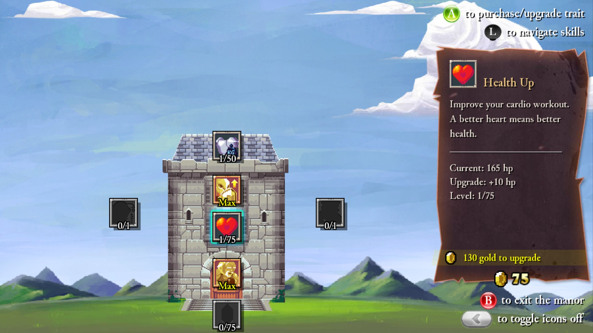 Image of the Rogue Legacy improvements screen.