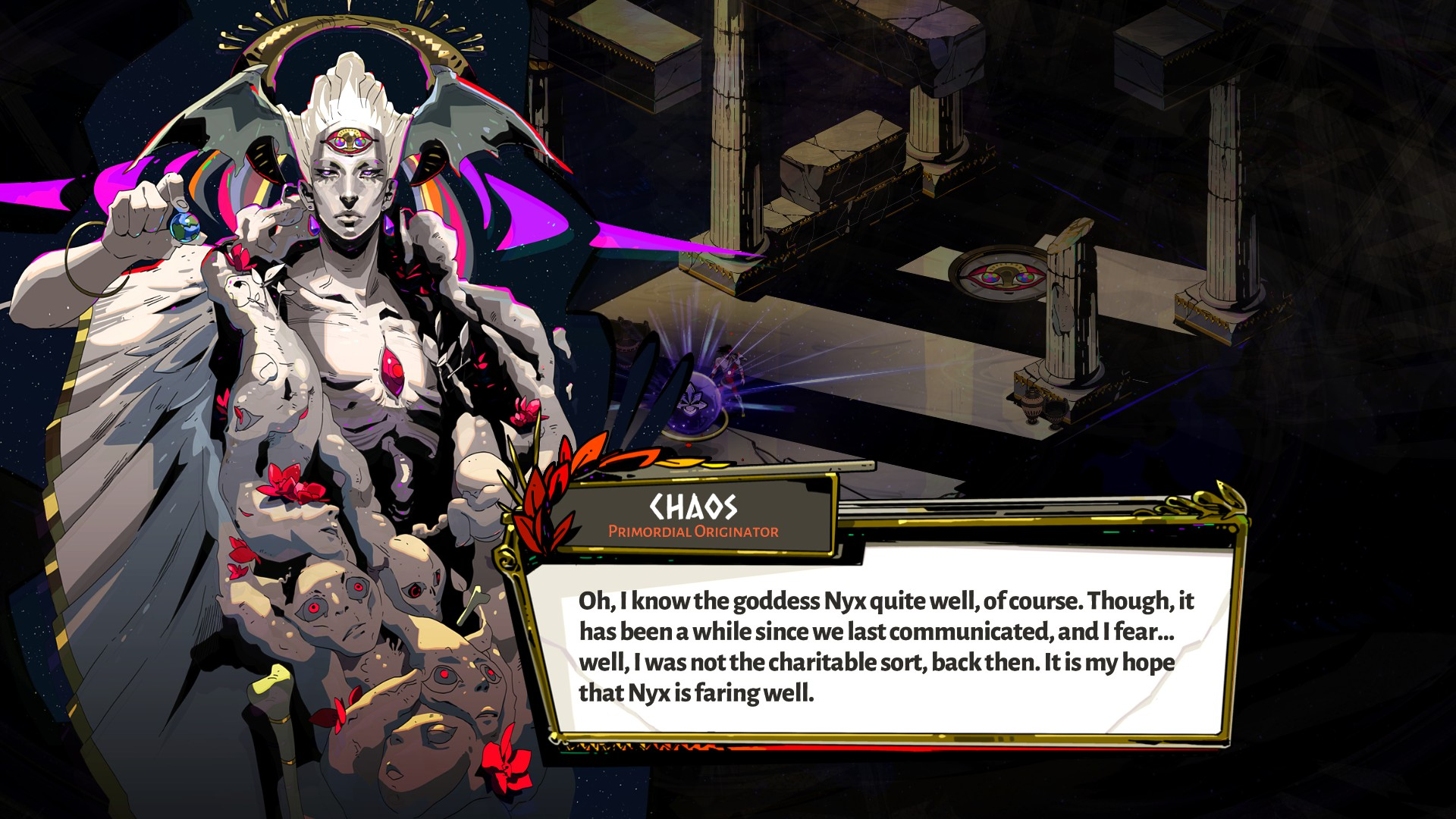 Image of Chaos from Hades, talking about Nyx.