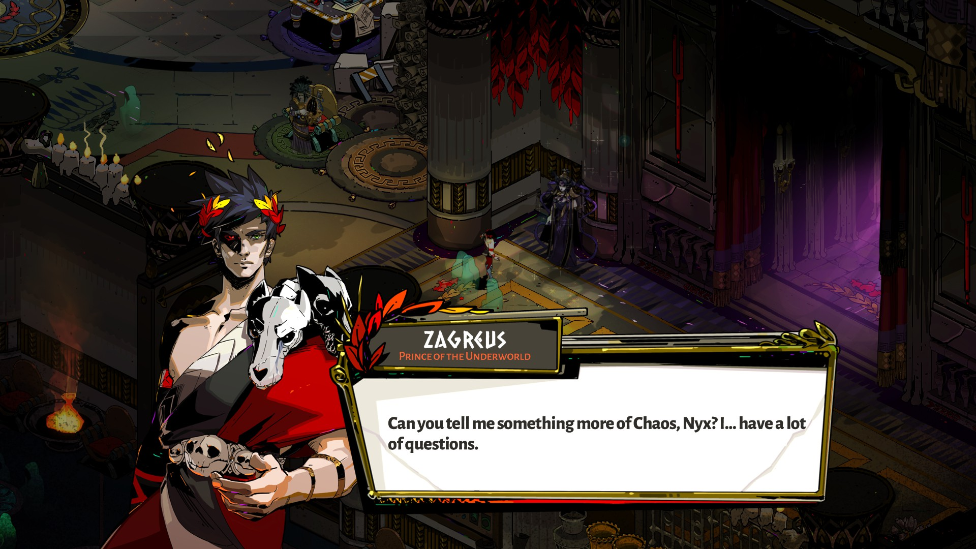 Image of Zagreus from Hades talking to Nyx, asking about Chaos.