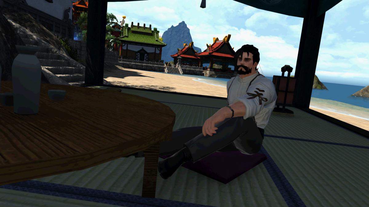Matt's character sitting Shirogane in FFXIV