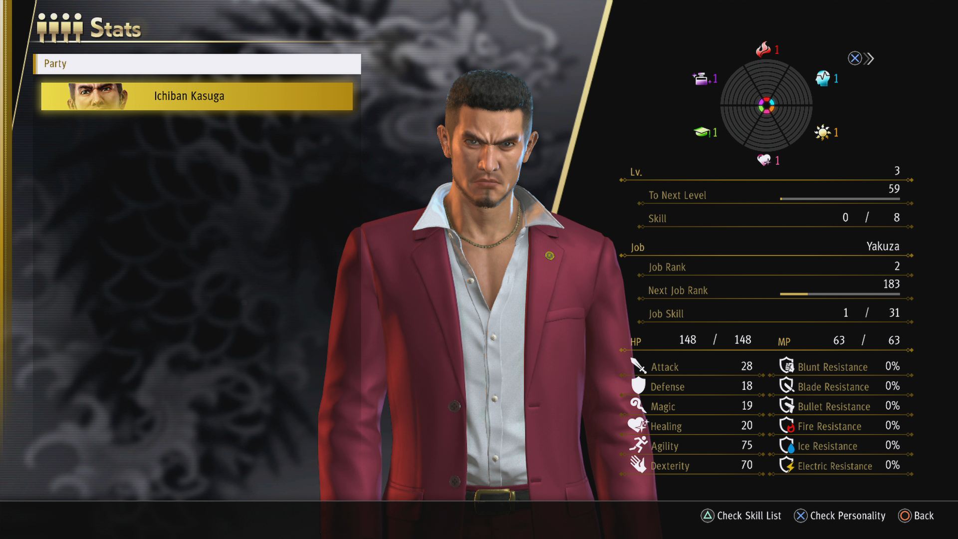 A stats screen from Yakuza: Like a Dragon, an RPG from SEGA.