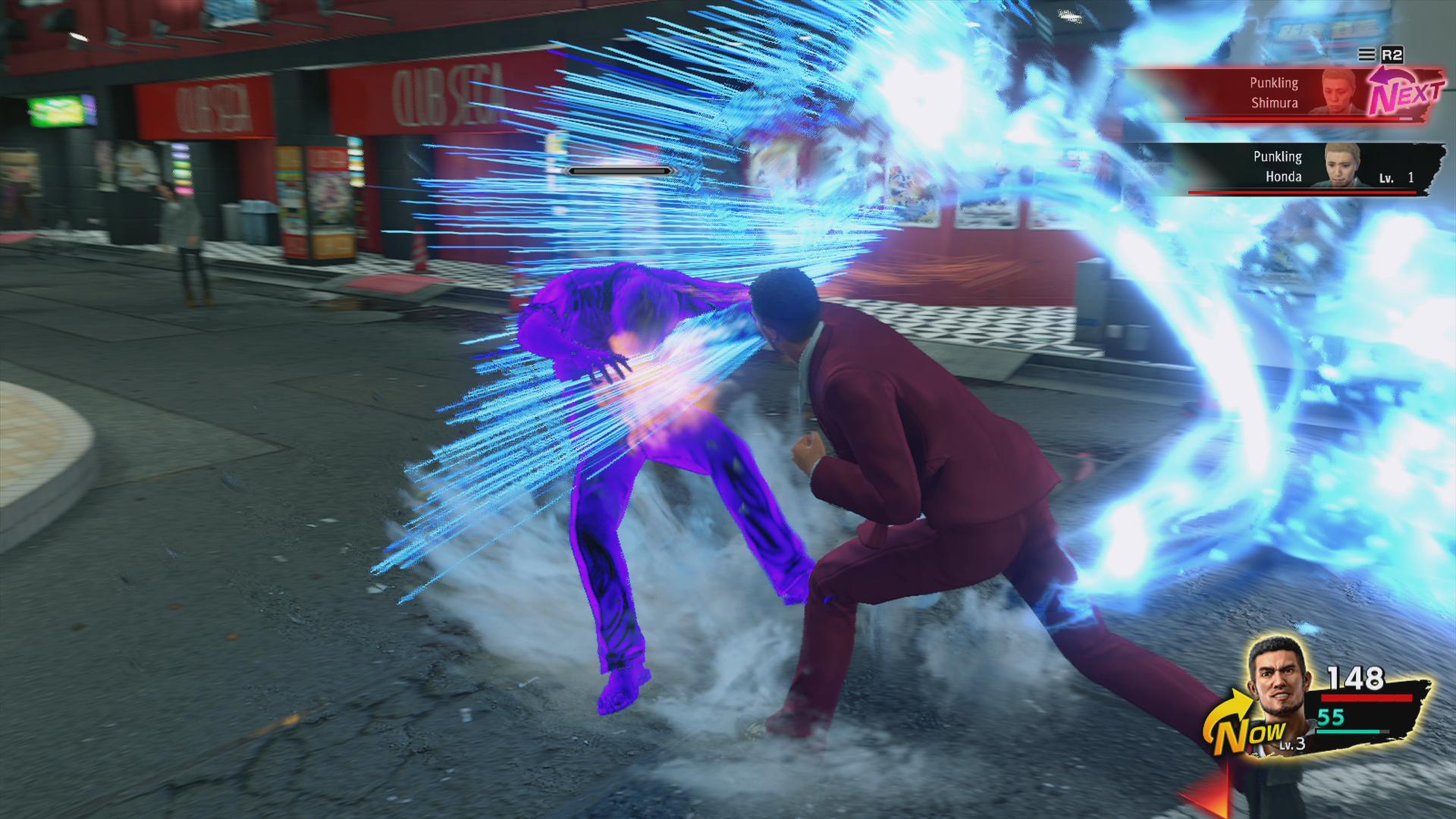A battle scene from Yakuza: Like a Dragon, an RPG from SEGA.