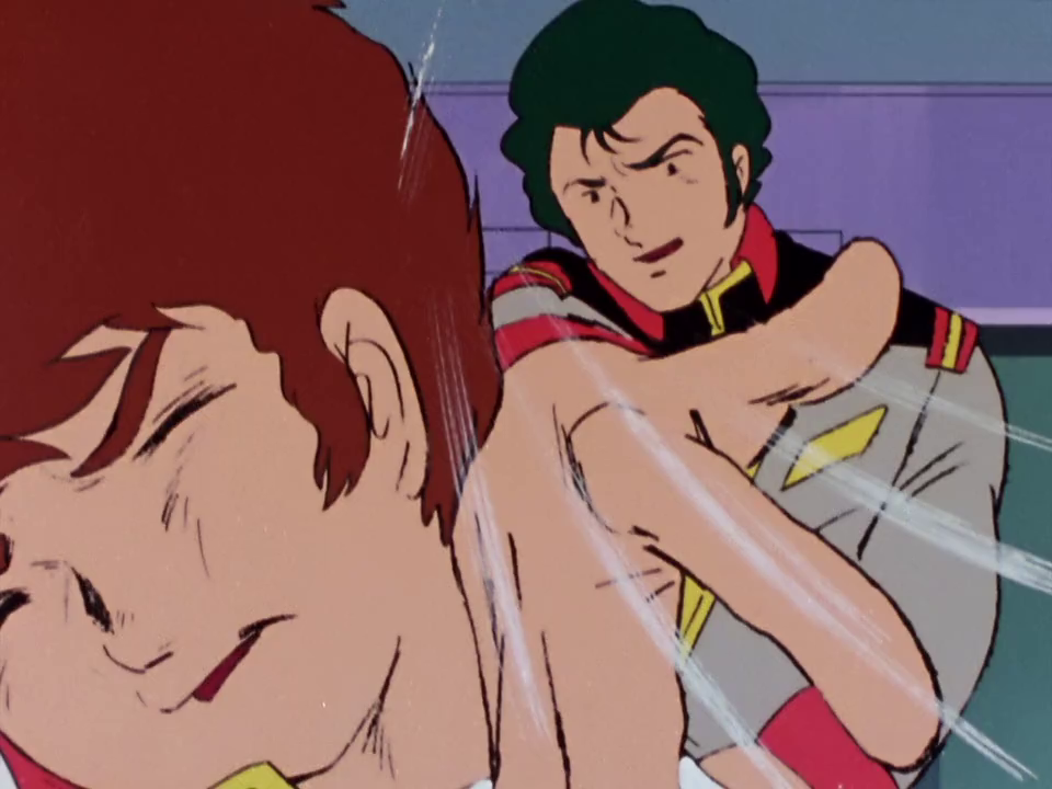 Capture from Mobile Suit Gundam 0079. Noa Bright slapping Amuro Ray.